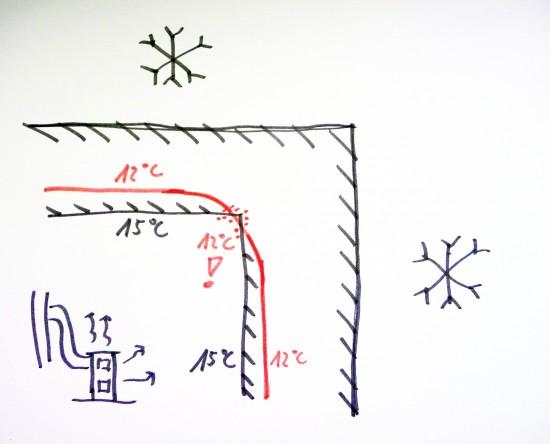 Roh je chladnější než teplota rosného bodu a vlhne.