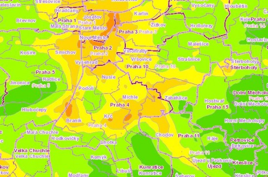 Mapa znečištění ovzduší v Praze